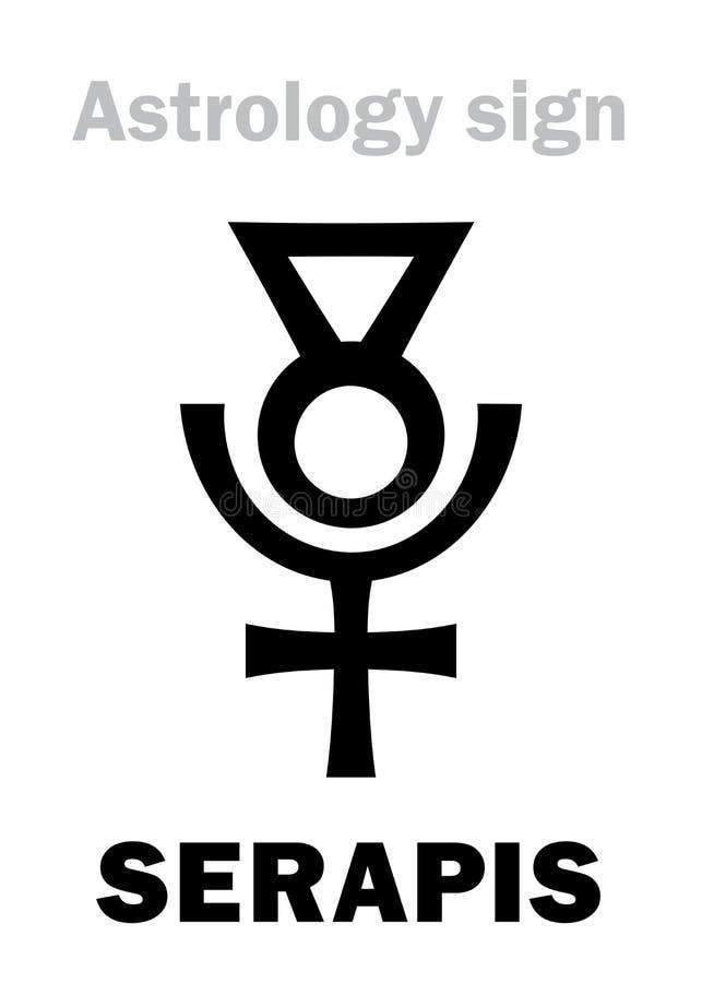 Astrología: SERAPIS ( God) Graeco-egipcio helenístico; ilustración del vector