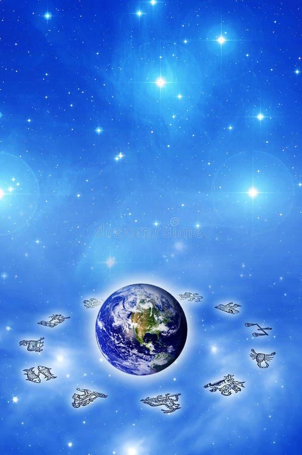 Astrología y mundo ilustración del vector
