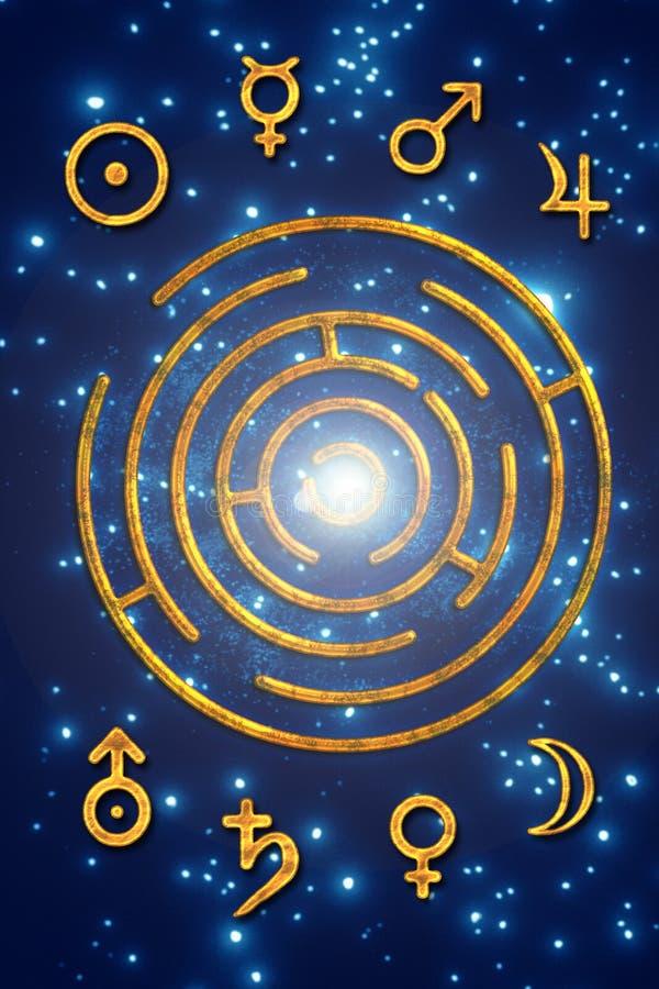 Astrología y planetas stock de ilustración