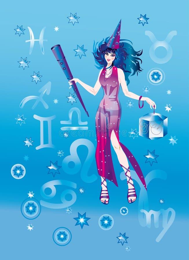 astrolog dziewczyna ilustracja wektor