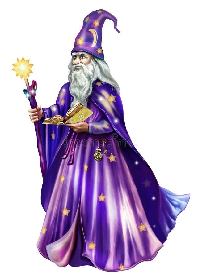 Astrolog i en hatt och ett ansvar royaltyfri illustrationer