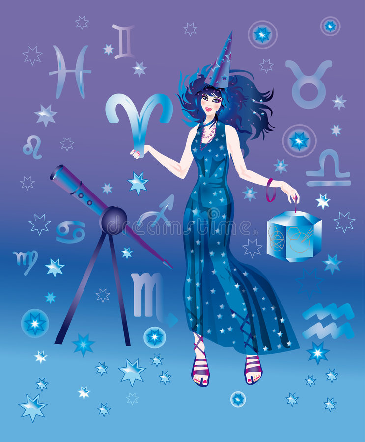 Astrologer with sign of zodiac of Ariesi character stock illustration
