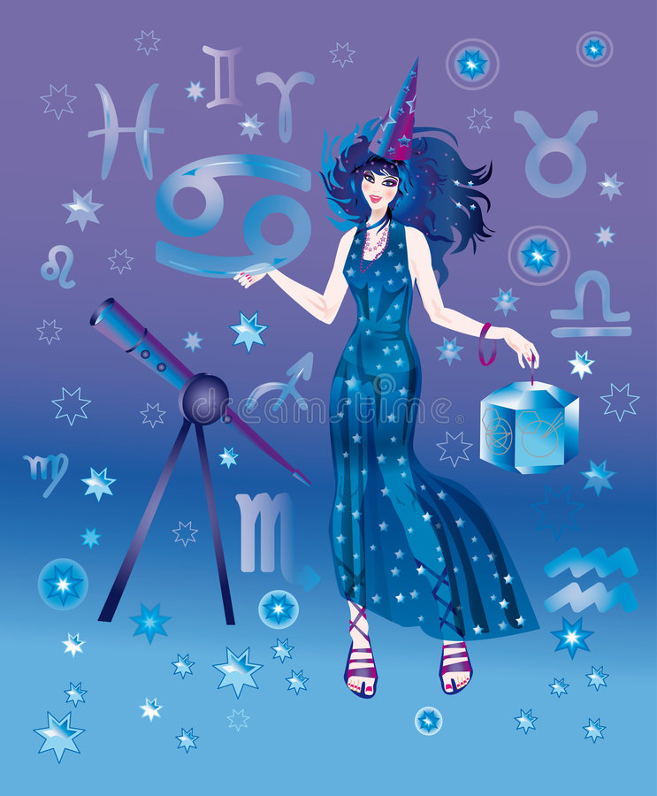 Astrologer with sign of zodiac character Cancer royalty free illustration