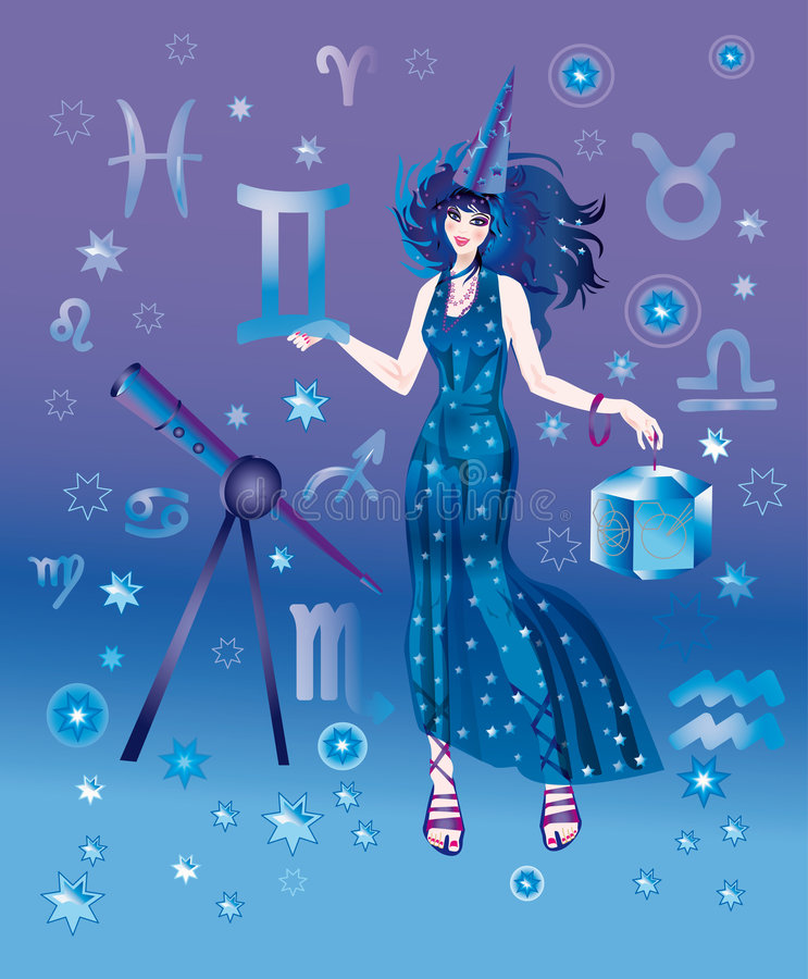 Astrologer with sign of zodiac of Gemini character royalty free illustration