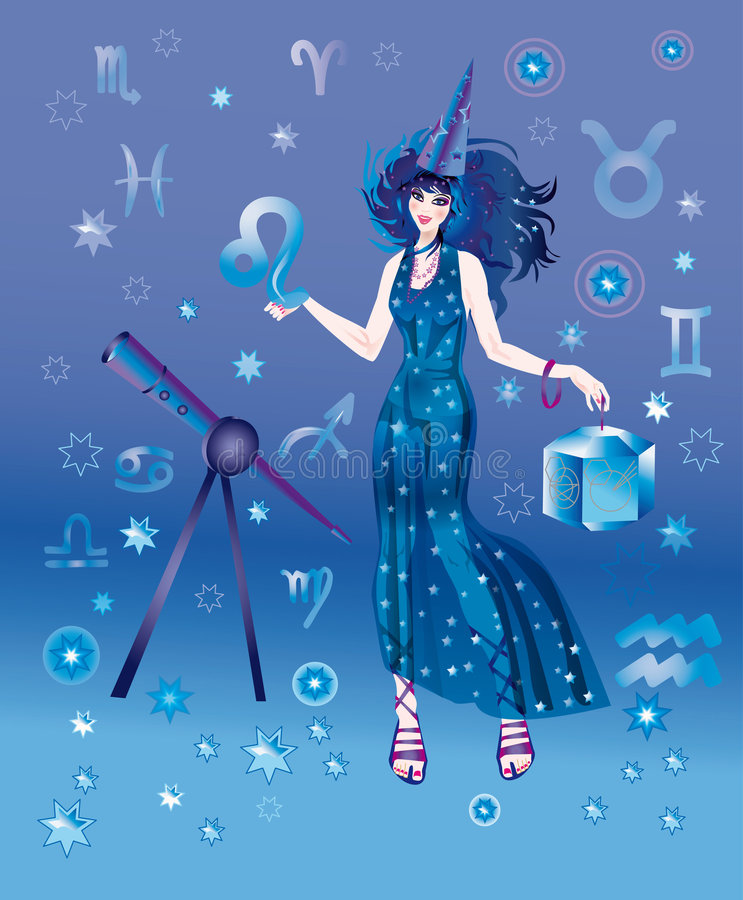 Astrologer with sign of zodiac of Leo character stock illustration