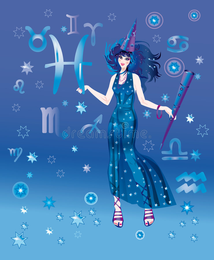 Astrologer with sign of zodiac of Pisces character royalty free illustration