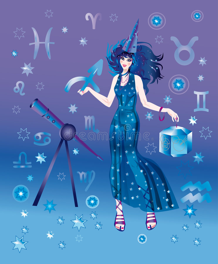 Astrologer with sign of zodiac of Sagittarius vector illustration