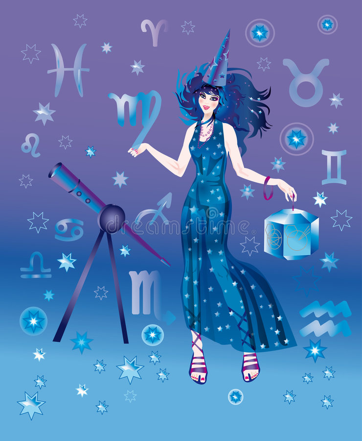 Astrologer with sign of zodiac of Virgo character vector illustration