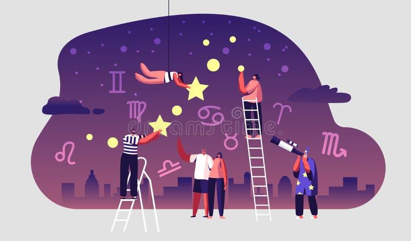 Astrologer som tittar på Natt Starry Sky via Telescope Astronomy Science Hobby, folk tittar på Stars royaltyfri illustrationer