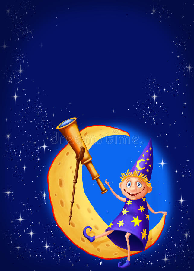 Astrologer with a telescope on the moon stock illustration