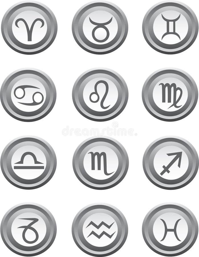 astrologi buttons teckenrengöringsduk royaltyfri illustrationer