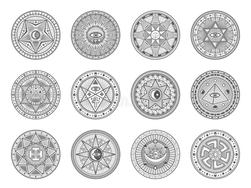 Astrologi, okult alkemi, masoteriska tecken vektor illustrationer