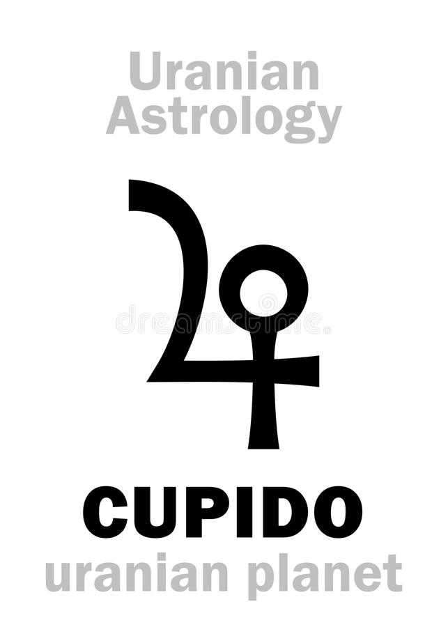 Astrologi: Uranian planet för CUPIDO stock illustrationer