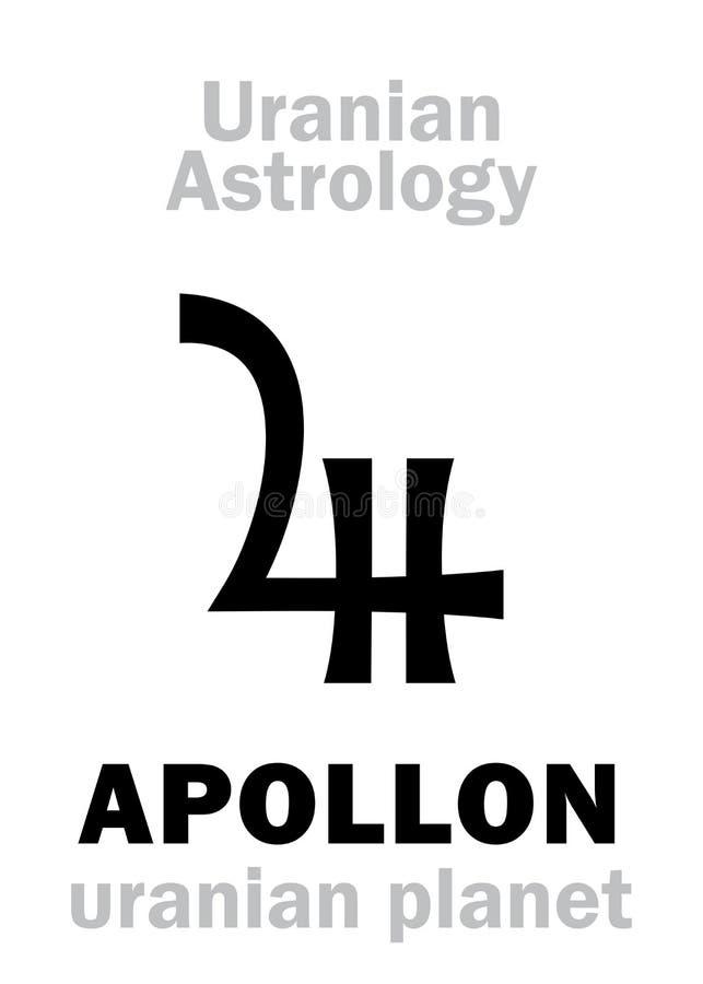 Astrologia: APOLLON &-x28; uranian planet&-x29; ilustracja wektor