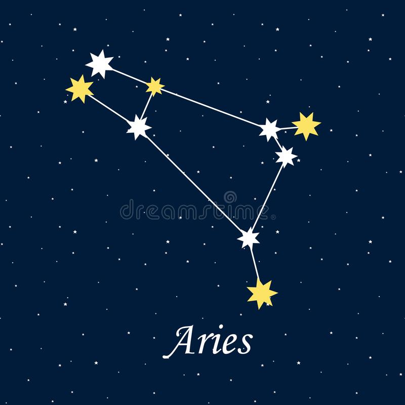 A astrologia do horóscopo do zodíaco do Áries da constelação stars o illus da noite ilustração do vetor