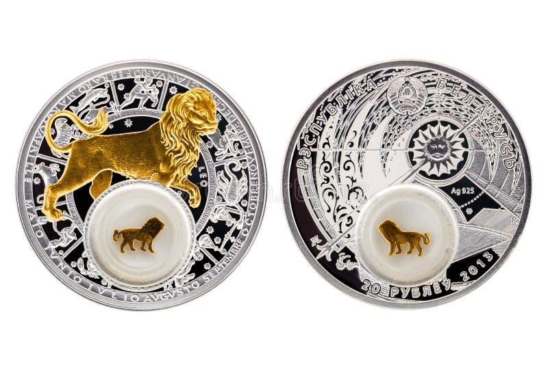 Astrologia Leo della moneta d'argento della Bielorussia fotografie stock libere da diritti