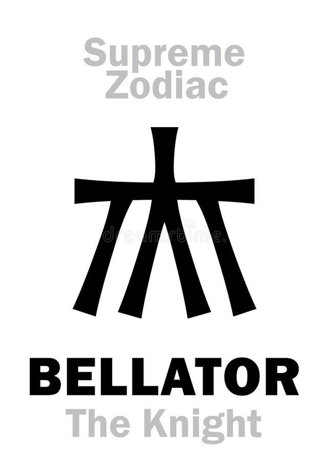 Astrologia: Najwy?szy zodiak: BELLATOR &-x28; Wojownik Knight&-x29/; = Hercules ilustracja wektor