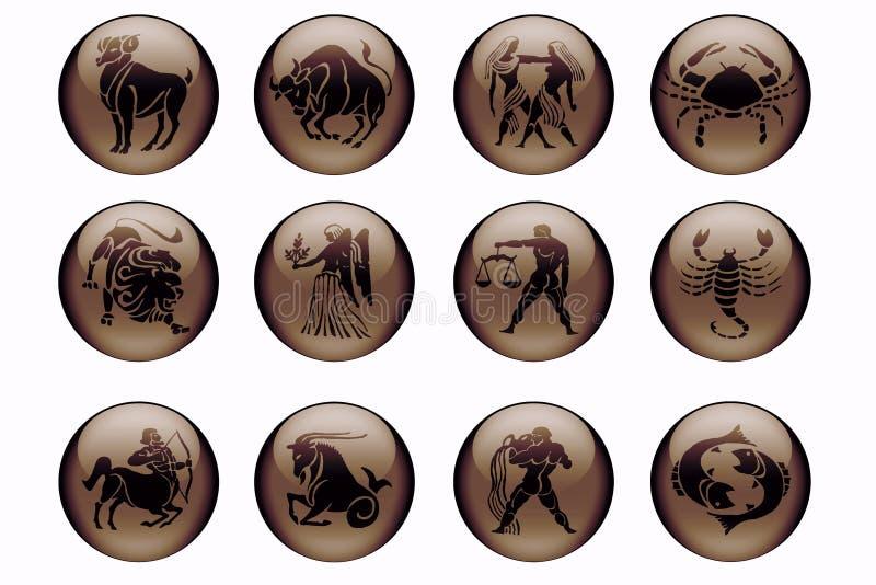 Astrologia nel colore marrone illustrazione vettoriale