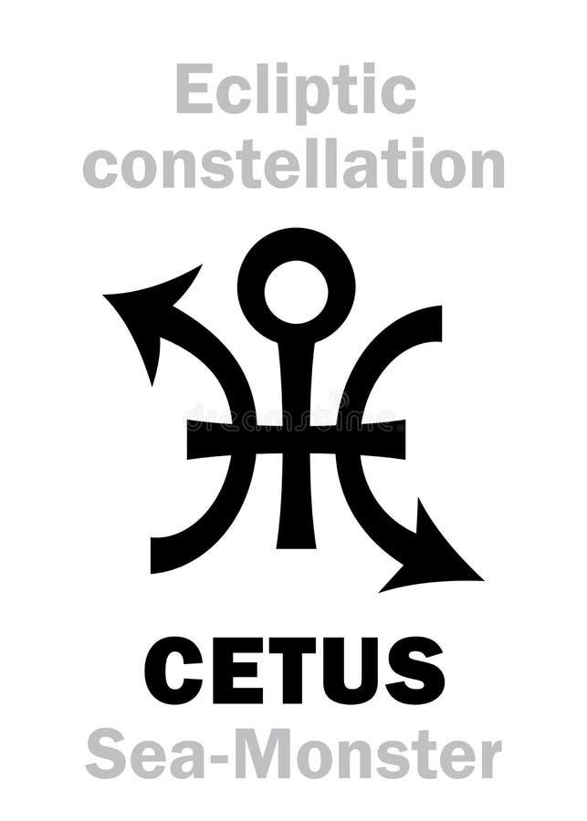 Astrologia: Segno di costellazione CETUS il mostro marino illustrazione vettoriale