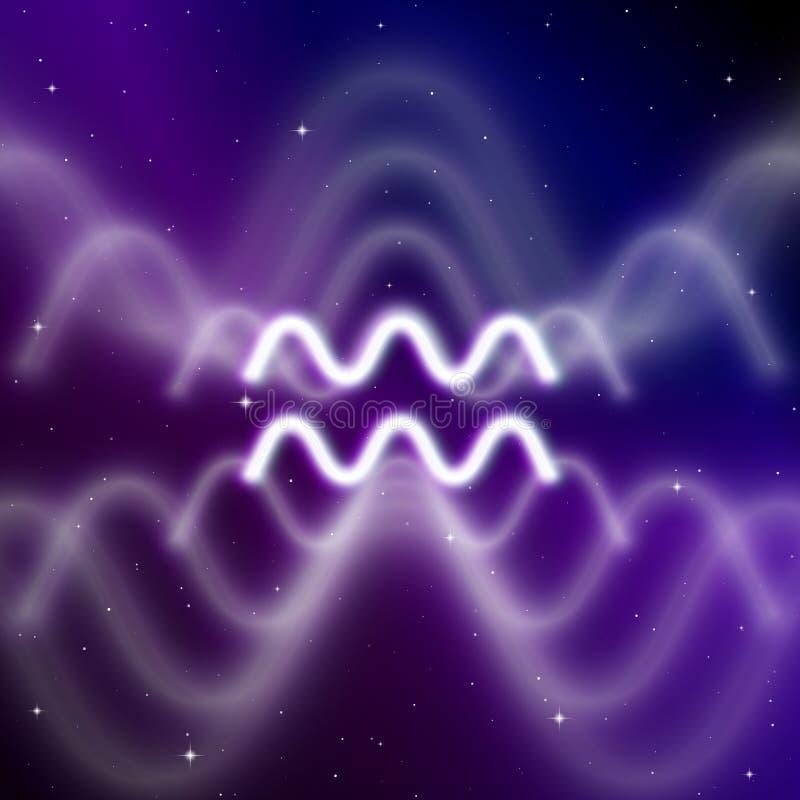 Astrologia znak Aquarius z tajemniczą aurą w wszechświacie Magiczna ikona royalty ilustracja