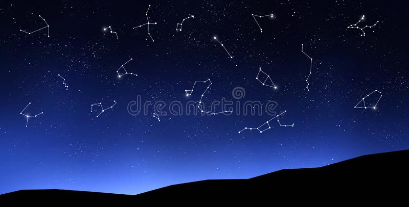 Zodiac signs on clear night sky above mountains stock images