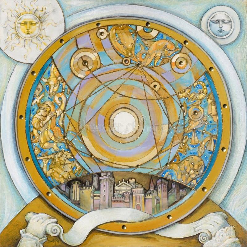 Download Astrological Clock stock illustration. Illustration of sphere - 11507782