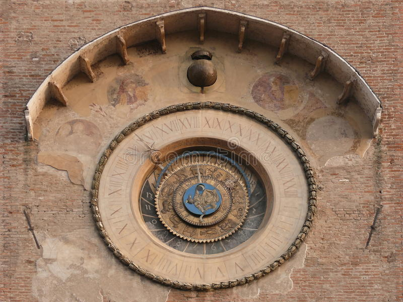 Astrological clock. Mantua. Italy. stock photography