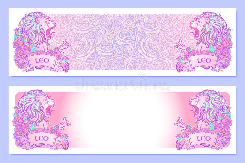 Astrological Leo horizontal banners. royalty free stock photos