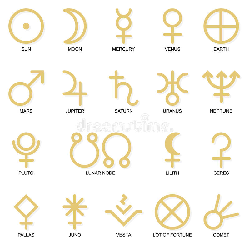 Astrological planet symbols stock image