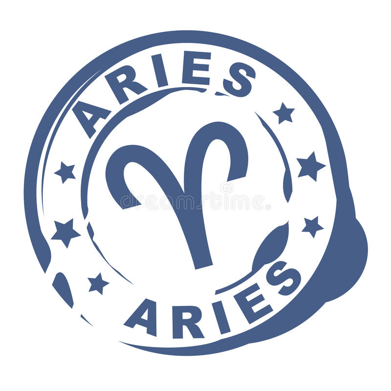Astrological sign rubber stamp with aries symbol stock illustration
