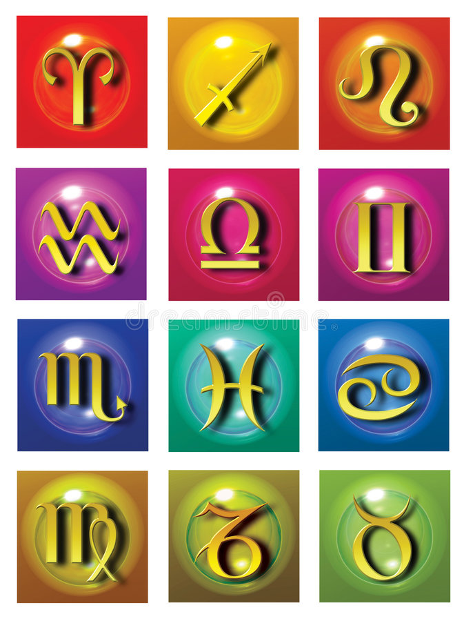 Astrological symbols. Set of all astrological symbols of the zodiac in bright colors vector illustration