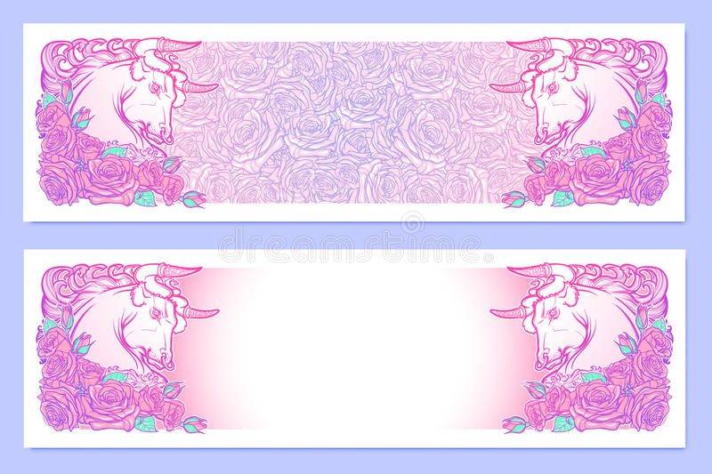 Astrological Taurus horizontal banners. stock image