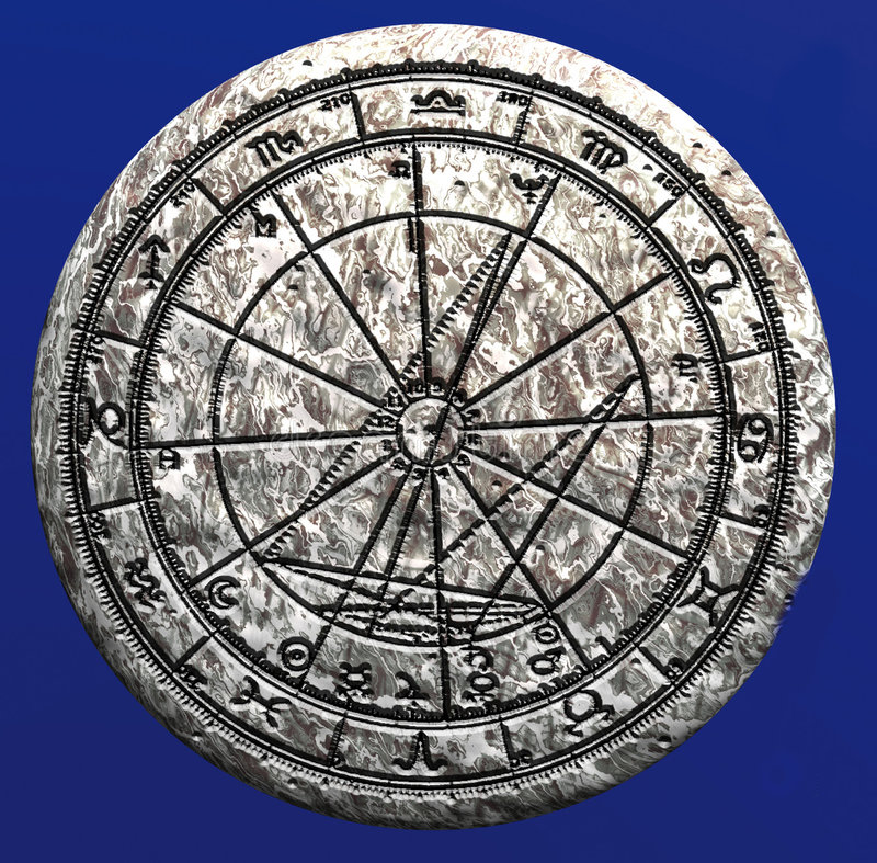 Download Astrological Wheel On Stone Stock Illustration - Illustration: 300221