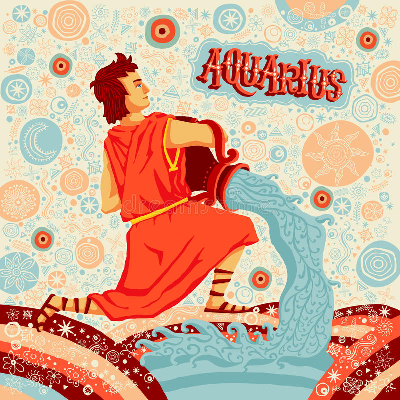 Astrological zodiac sign Aquarius. Part of a set of horoscope signs. Vector illustration stock illustration