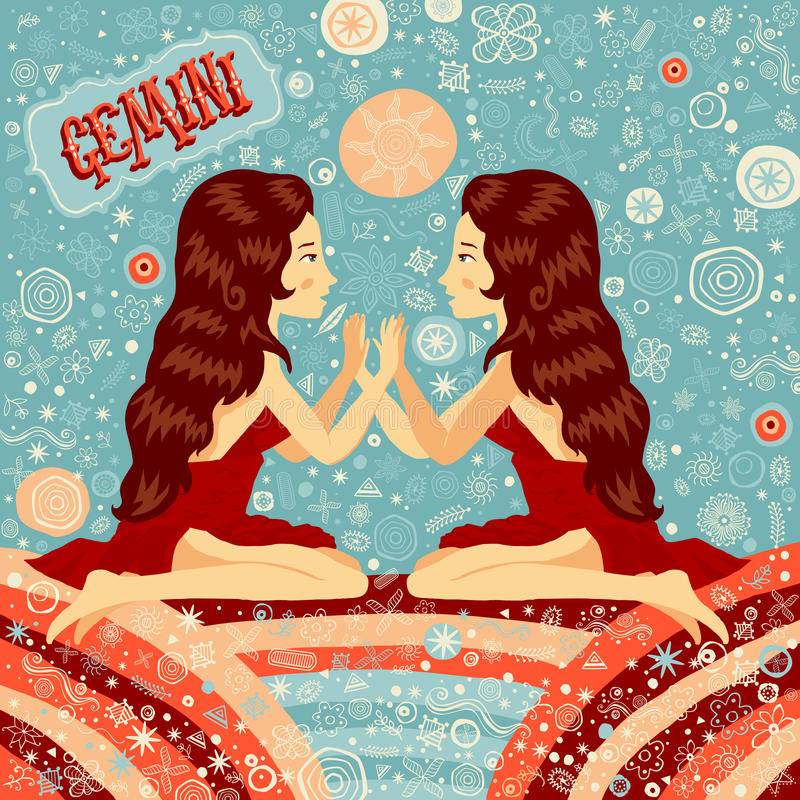 Astrological zodiac sign Gemini. Part of a set of horoscope signs. Vector illustration royalty free illustration