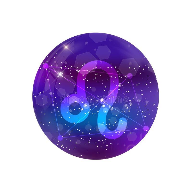 Astrologiczny symbol lew Abstrakcjonistyczny wektorowy błyszczący zachodni zodiaka horoskopu znak ilustracja wektor