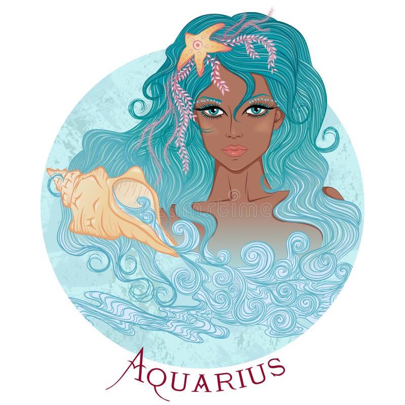 Astrologiczny znak Aquarius jako piękny amerykanina afrykańskiego pochodzenia gi ilustracji