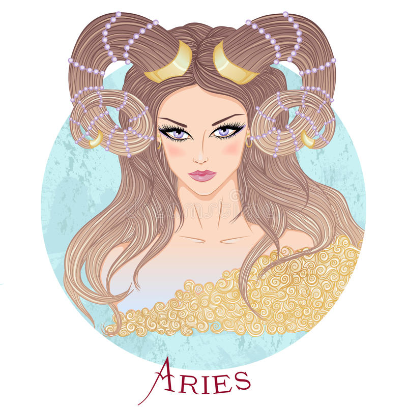 Astrologiczny znak Aries jako piękna dziewczyna royalty ilustracja