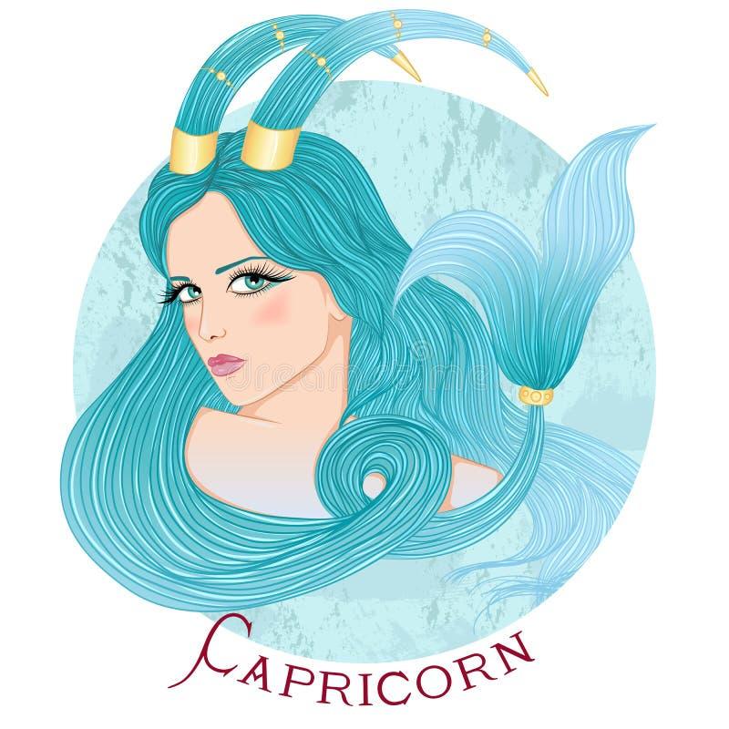 Astrologiczny znak Capricorn jako piękna dziewczyna ilustracja wektor