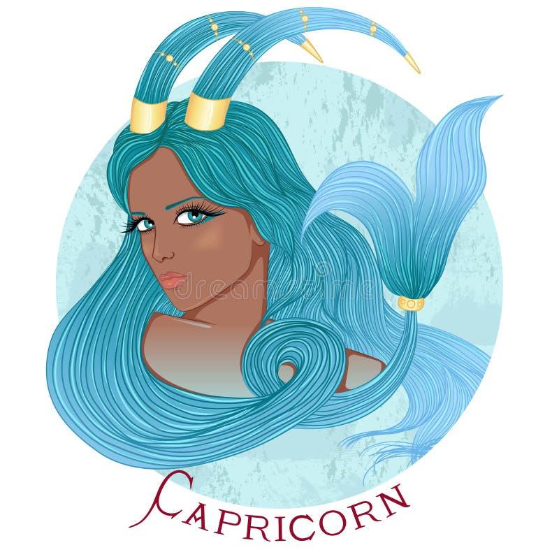 Astrologiczny znak Capricorn jako piękny amerykanin afrykańskiego pochodzenia g ilustracja wektor