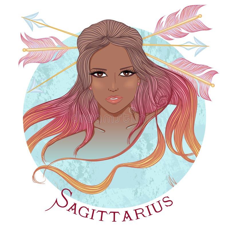 Astrologiczny znak Sagittarius jako piękny amerykanin afrykańskiego pochodzenia royalty ilustracja