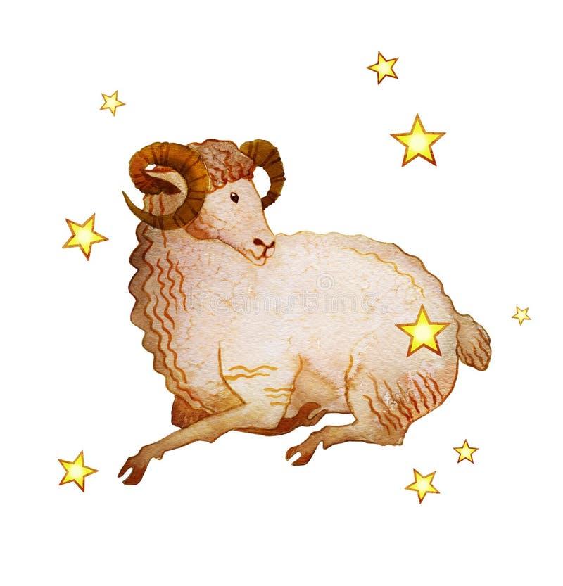 Astrologiczny znak zodiaka Aries odizolowywający na białym tle, textured, royalty ilustracja