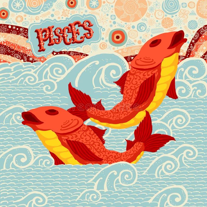 Astrologiczny zodiaka znak Pisces Część set horoskopów znaki ilustracji