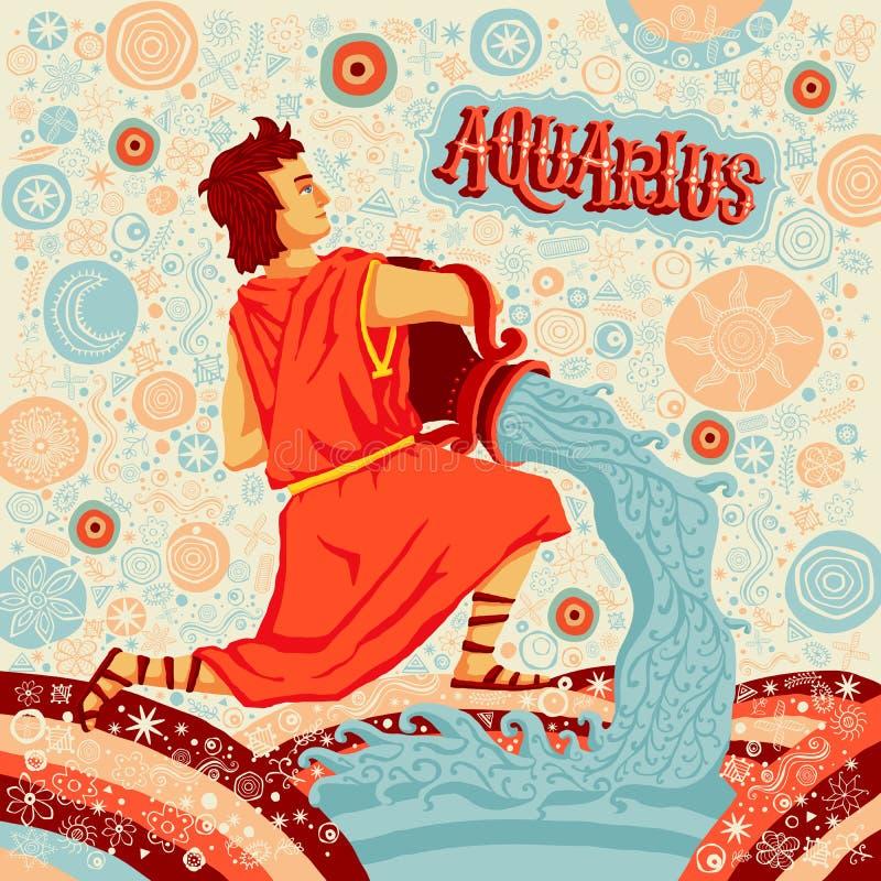 Astrologiczny zodiaka znaka Aquarius Część set horoskopów znaki ilustracji