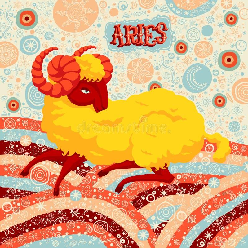 Astrologiczny zodiaka znaka Aries Część set horoskopów znaki ilustracja wektor