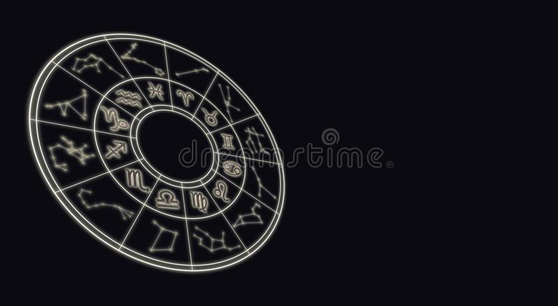 Astrologie en horoscopenconcept Astrologische dierenriemtekens in c stock fotografie