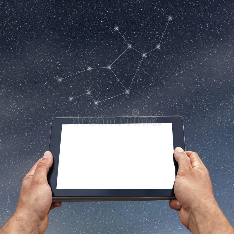 Astrologie, horoscoop, technologie en mensenconcept Maagd Const stock afbeeldingen
