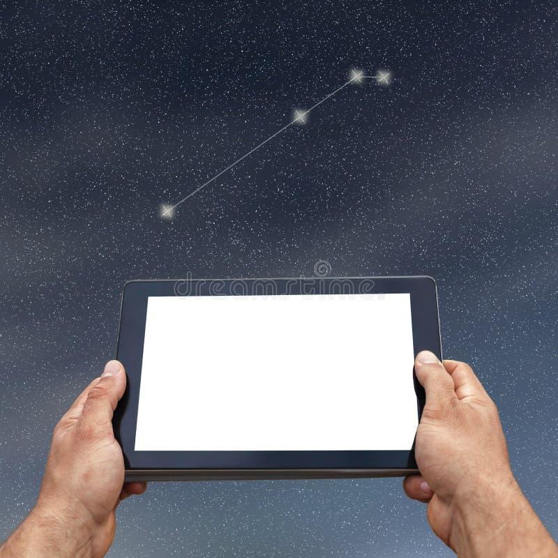 Astrologie, horoscope, technologie et concept de personnes Aries Const image libre de droits