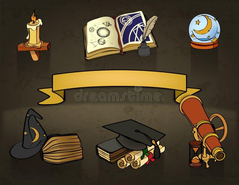 Astrologie, vectorkrabbels royalty-vrije illustratie