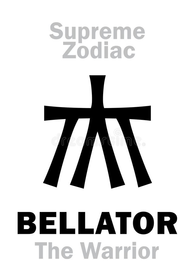 Astrologie : Zodiaque suprême : BELLATOR ( ; Le guerrier/Knight) ; = Hercule illustration stock
